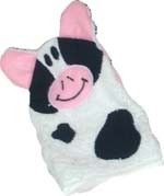 white cow hooded bath towel mitt