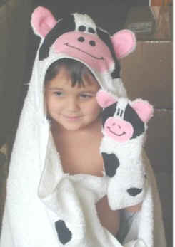 white cow hooded bath towel